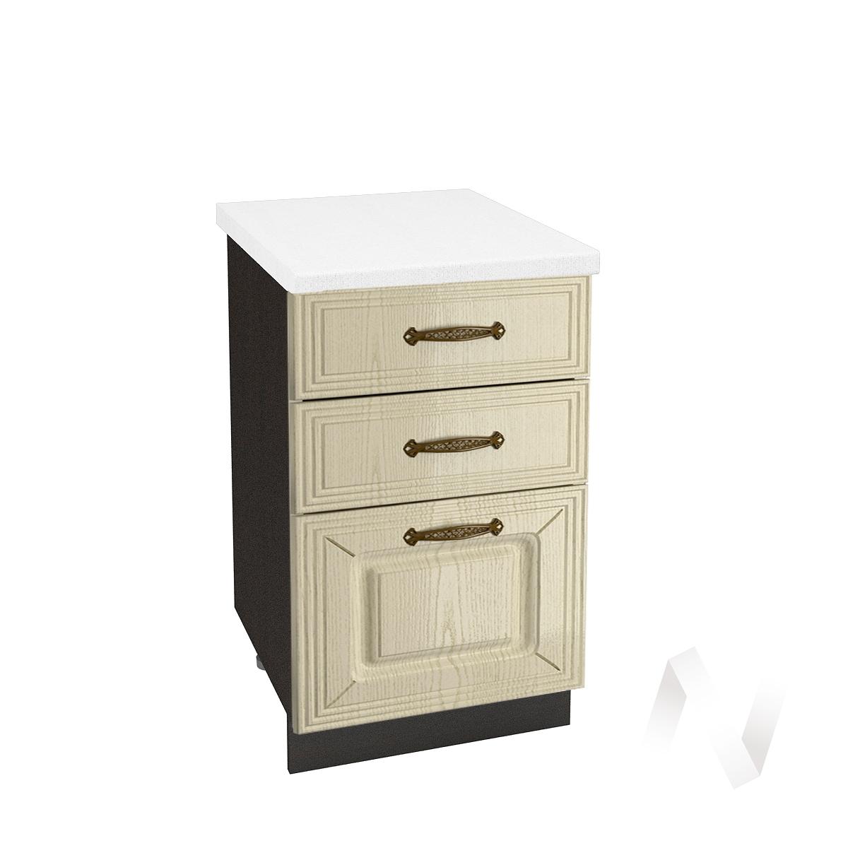 """Кухня """"Изабель"""": Шкаф нижний с 3-мя ящиками 500, ШН3Я 500 (корпус венге)"""