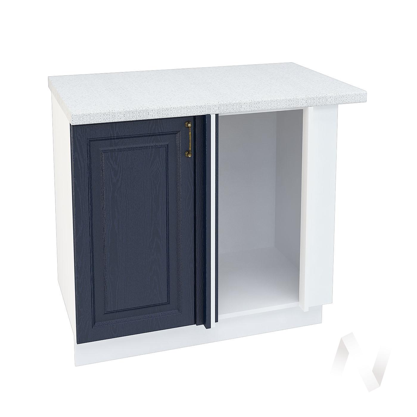 """Кухня """"Ницца"""": Шкаф нижний угловой 990М, ШНУ 990М (Дуб чернильный/корпус белый)"""