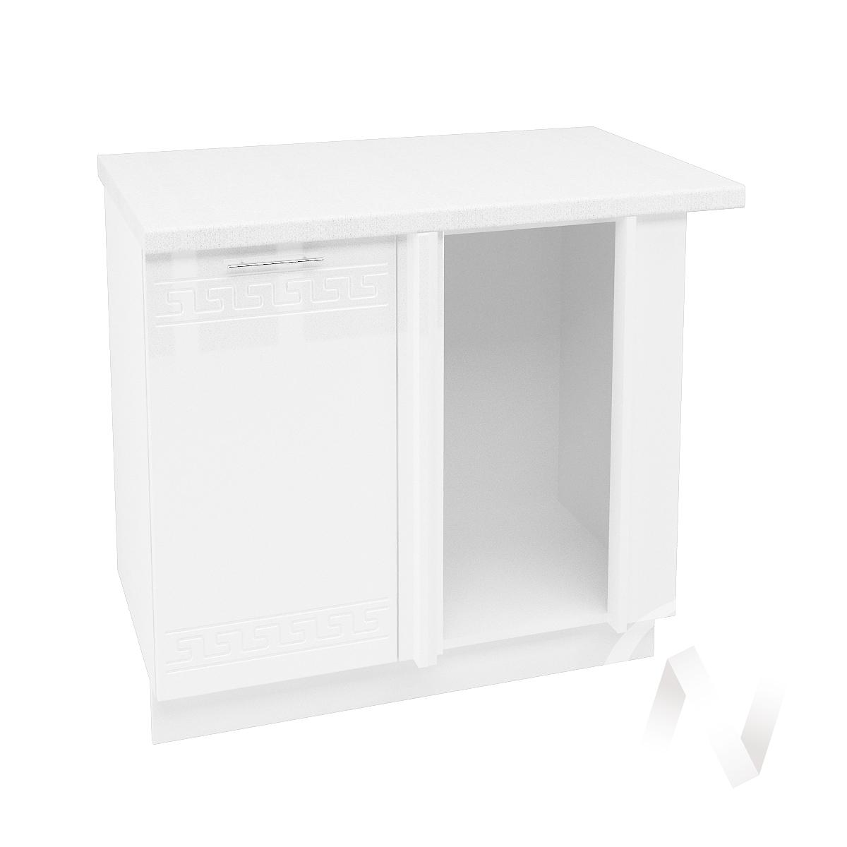"Кухня ""Греция"": Шкаф нижний угловой 990М, ШНУ 990М (белый металлик/корпус белый)"
