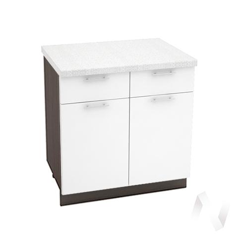 """Кухня """"Валерия-М"""": Шкаф нижний с ящиками 800, ШН1Я 800 (белый глянец/корпус венге)"""