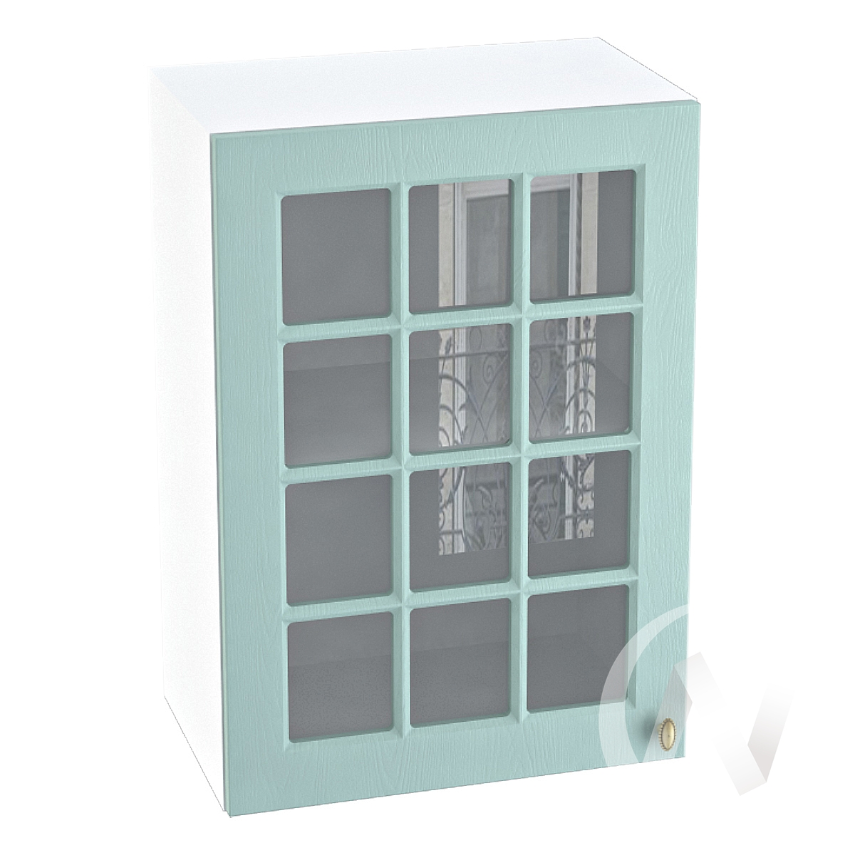 "Кухня ""Прованс"": Шкаф верхний со стеклом 500, ШВС 500 (голубой/корпус белый)"
