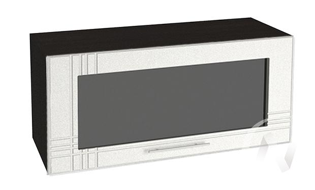"""Кухня """"Струна"""": Шкаф верхний горизонтальный со стеклом 800, ШВГС 800 (белый металлик/корпус венге)"""