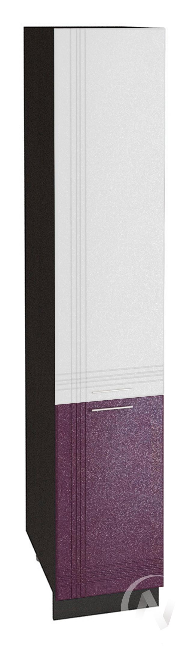 """Кухня """"Струна"""": Шкаф пенал 400, ШП 400 (белый/фиолетовый металлик/корпус венге)"""