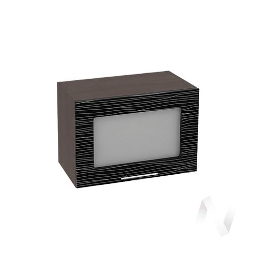 """Кухня """"Валерия-М"""": Шкаф верхний горизонтальный со стеклом 500, ШВГС 500 (Страйп черный/корпус венге)"""