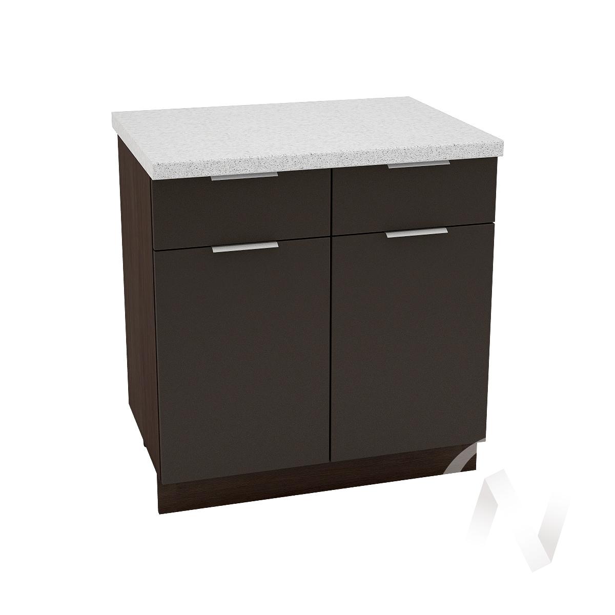 """Кухня """"Терра"""": Шкаф нижний с ящиками 800, ШН1Я 800 (смоки софт/корпус венге)"""