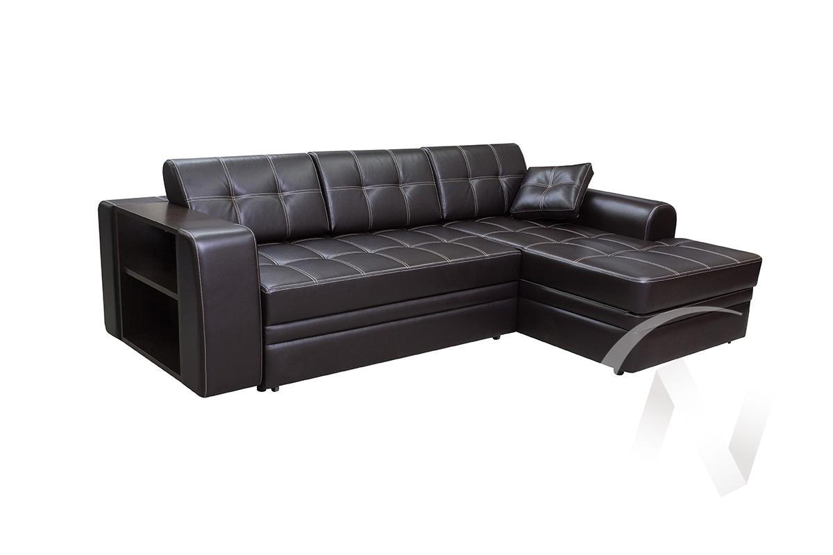 Диван угловой правый Леон (коричневый к.з)  в Томске — интернет магазин МИРА-мебель
