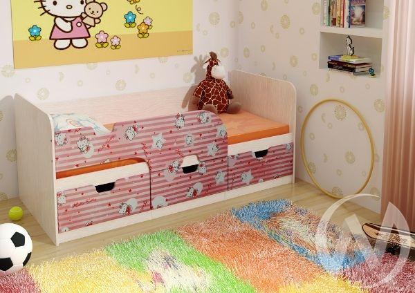 Кровать детская Минима 1,86м с ящиками (дуб атланта/китти)