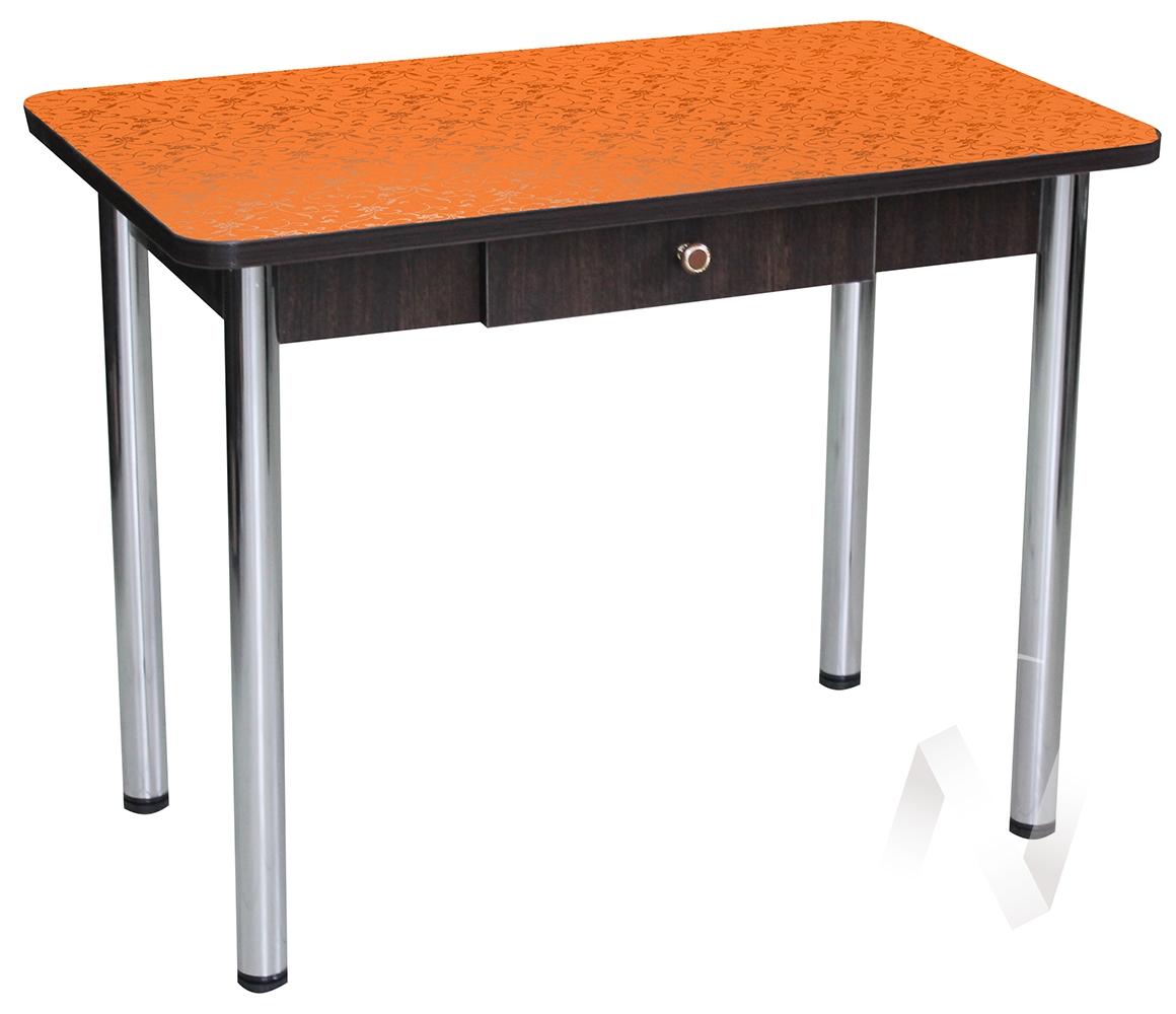 Стол Дачный с ящиком (цветы оранжевые)