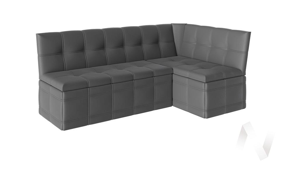 Скамья угловая со спальным местом Квадро тип 1 кожзам (серый)  в Томске — интернет магазин МИРА-мебель