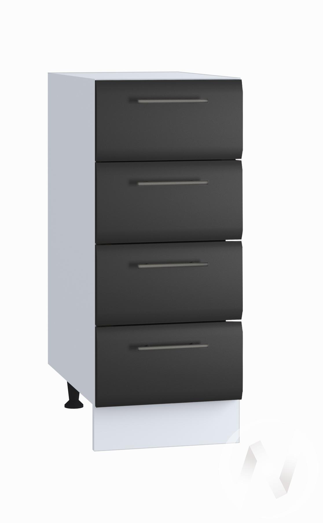 """Кухня """"Люкс"""": Шкаф нижний с 4-мя ящиками 300, ШН4Я 300 (Шелк венге/корпус белый)"""