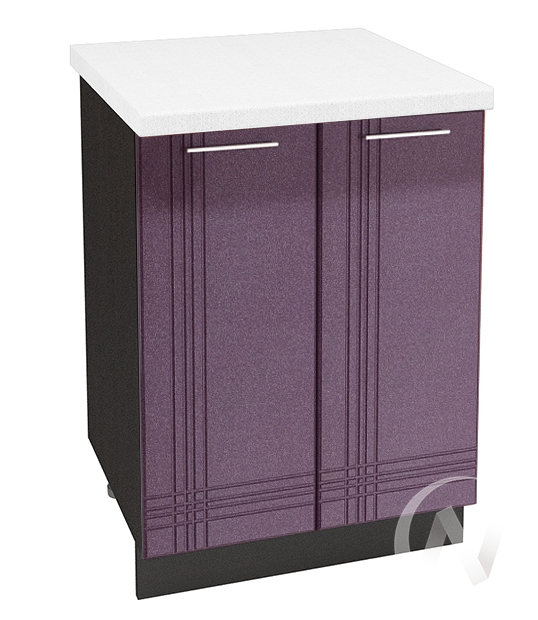 """Купить кухня """"струна"""": шкаф нижний 600, шн 600 (фиолетовый металлик/корпус венге) в Новосибирске в интернет-магазине Мебель плюс Техника"""