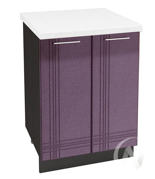 "Кухня ""Струна"": Шкаф нижний 600, ШН 600 (фиолетовый металлик/корпус венге)"