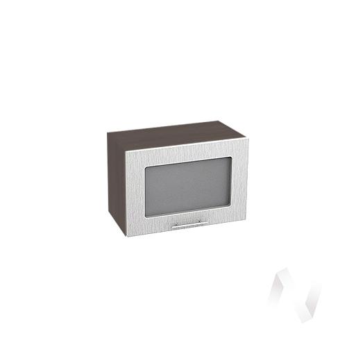 """Кухня """"Валерия-М"""": Шкаф верхний горизонтальный со стеклом 500, ШВГС 500 (дождь серый/корпус венге)"""