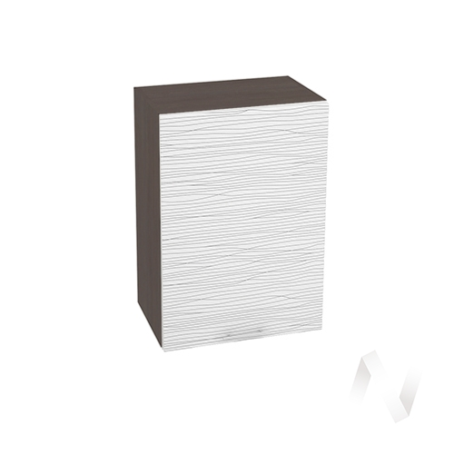 """Кухня """"Валерия-М"""": Шкаф верхний 500, ШВ 500 (Страйп белый/корпус венге)"""