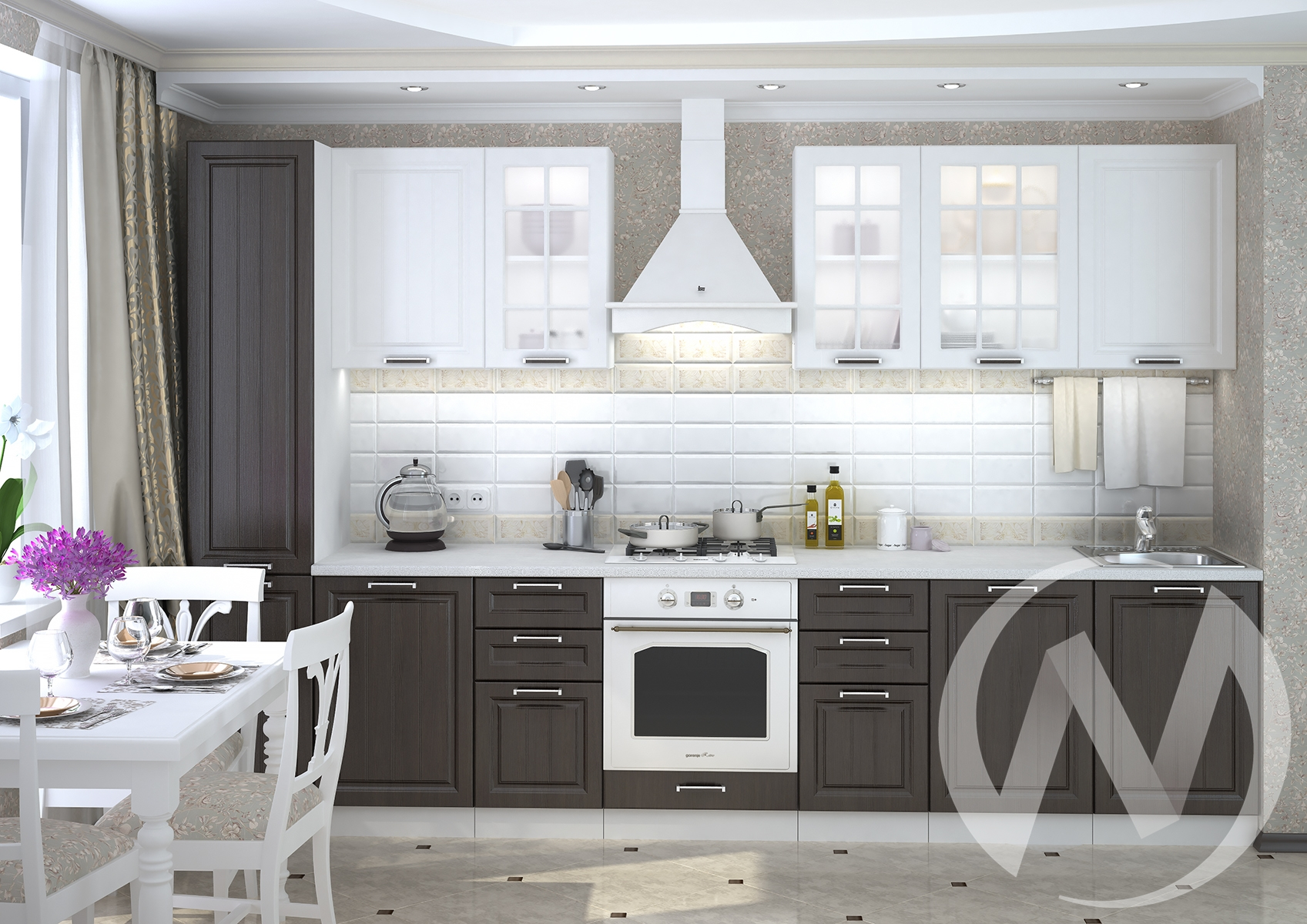 """Кухня """"Прага"""" (венге/корпус белый) в Новосибирске в интернет-магазине мебели kuhnya54.ru"""