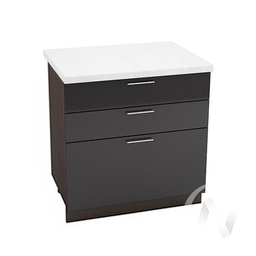 """Кухня """"Валерия-М"""": Шкаф нижний с 3-мя ящиками 800, ШН3Я 800 (черный металлик/корпус венге)"""