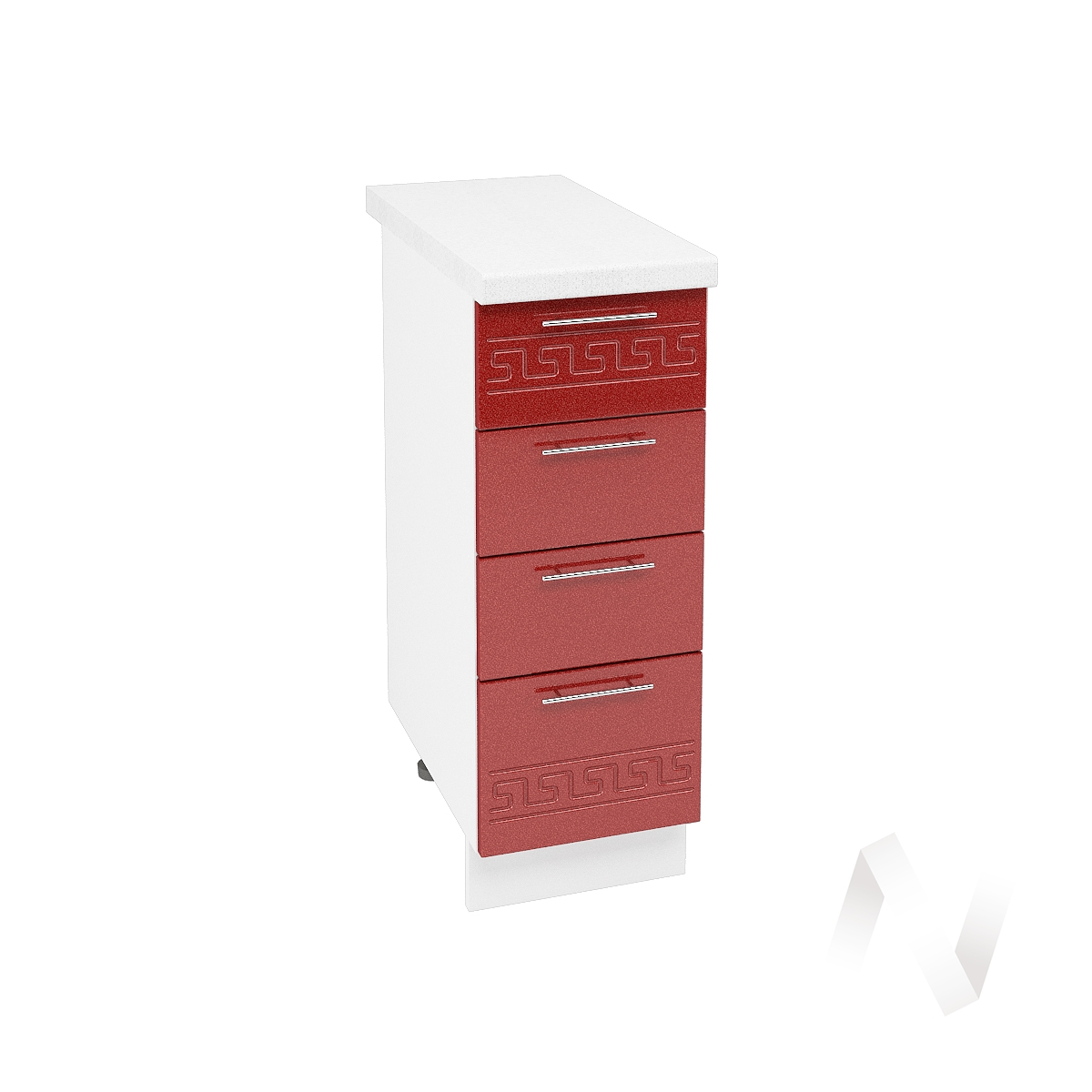 """Кухня """"Греция"""": Шкаф нижний с 4-мя ящиками 300, ШН4Я 300 (гранатовый металлик/корпус белый)"""