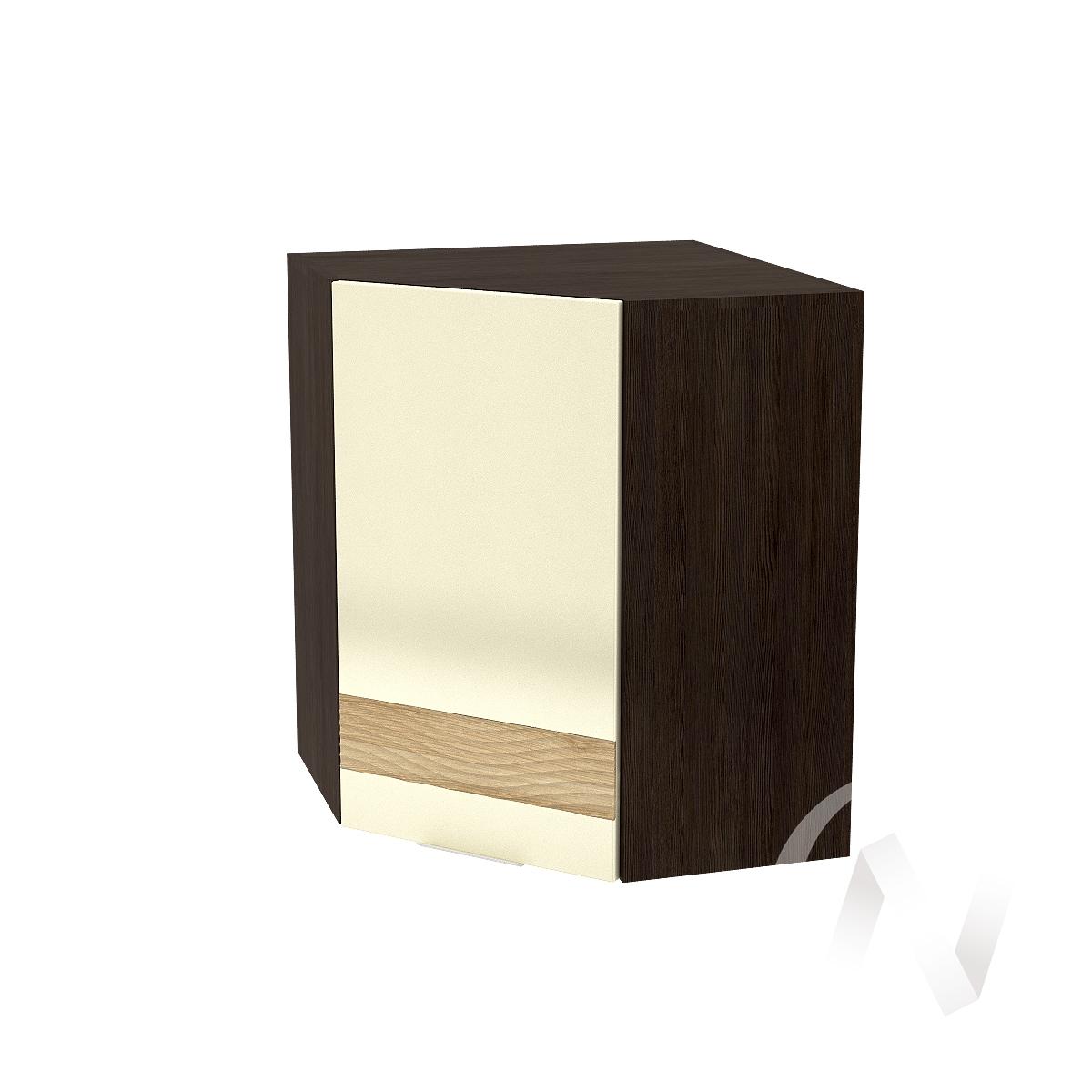 """Кухня """"Терра"""": Шкаф верхний угловой левый 590, ШВУ 590 (ваниль софт/ель карпатская/корпус венге)"""