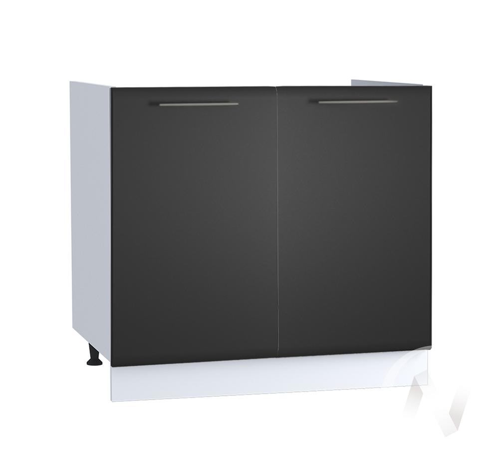 "Кухня ""Люкс"": Шкаф нижний под мойку 800, ШНМ 800 (Шелк венге/корпус белый)"