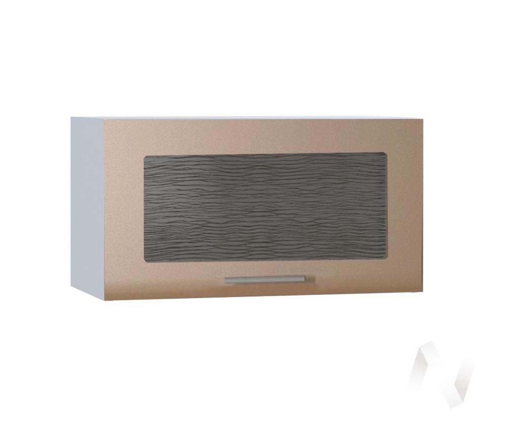 """Кухня """"Люкс"""": Шкаф верхний горизонтальный со стеклом 600, ШВГС 600 (Шоколад матовый/корпус белый)"""