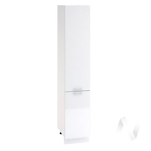 """Кухня """"Валерия-М"""": Шкаф пенал 400, ШП 400 (белый металлик/корпус белый)"""