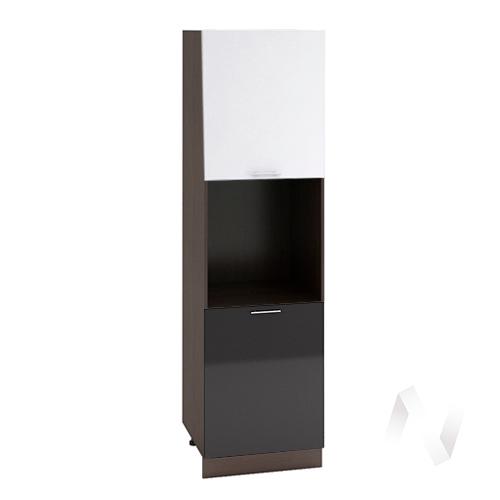 """Кухня """"Валерия-М"""": Шкаф пенал 600, ШП 600 (белый/черный металлик/корпус венге)"""