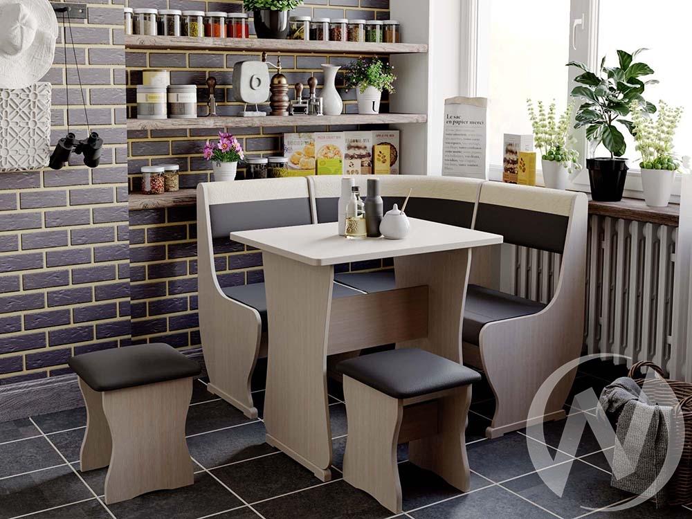 Кухонный уголок Уют 1 универсал мини кожзам (дуб молочный/шоколад,бежевый)  в Томске — интернет магазин МИРА-мебель