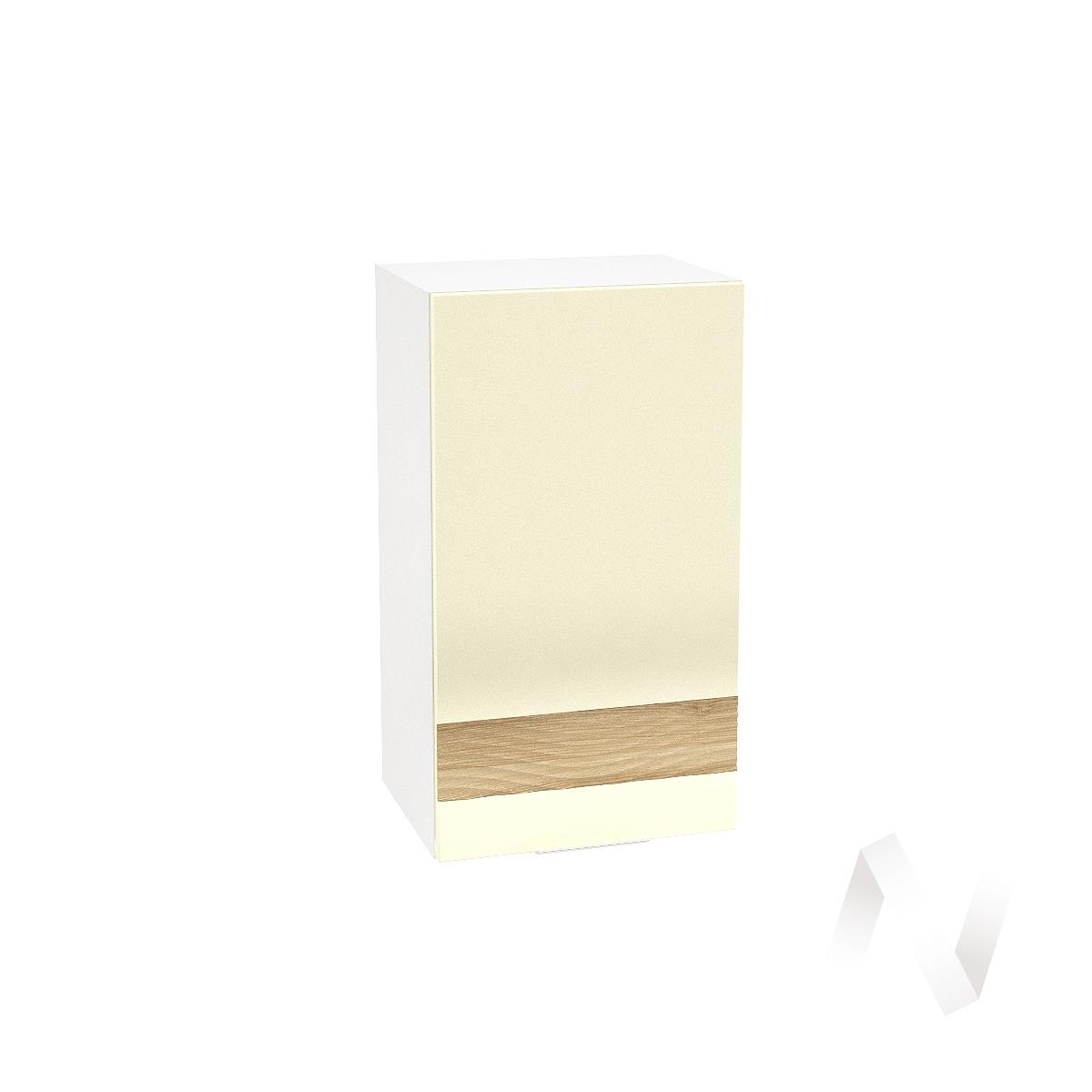 """Кухня """"Терра"""": Шкаф верхний левый 400, ШВ 400 (ваниль софт/ель карпатская/корпус белый)"""