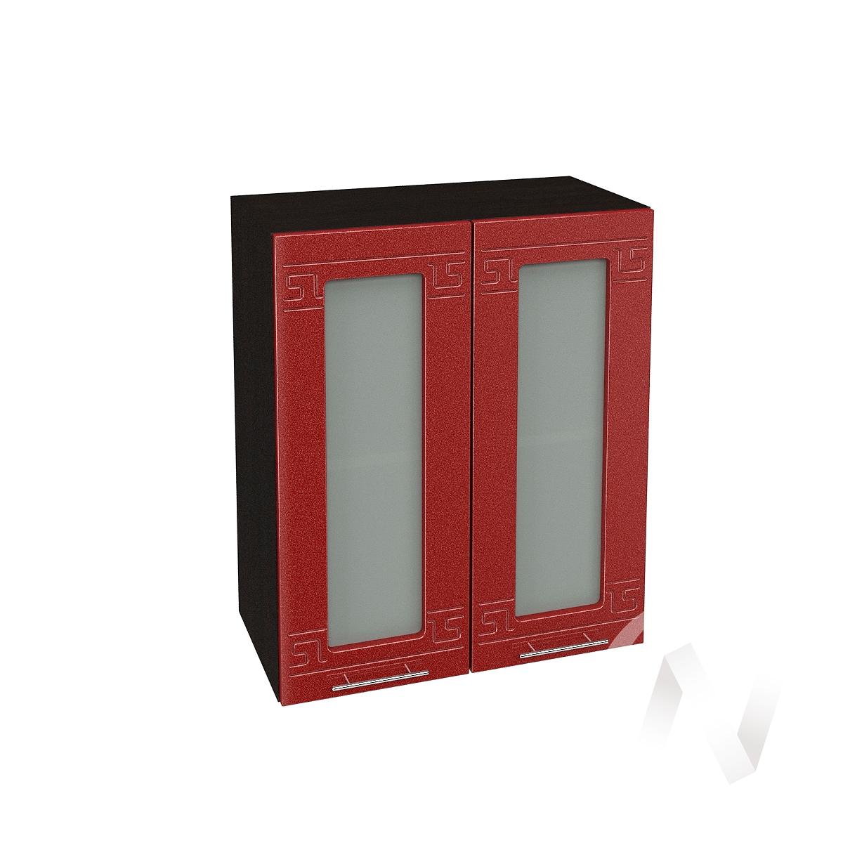 """Кухня """"Греция"""": Шкаф верхний со стеклом 600, ШВС 600 (гранатовый металлик/корпус венге)"""