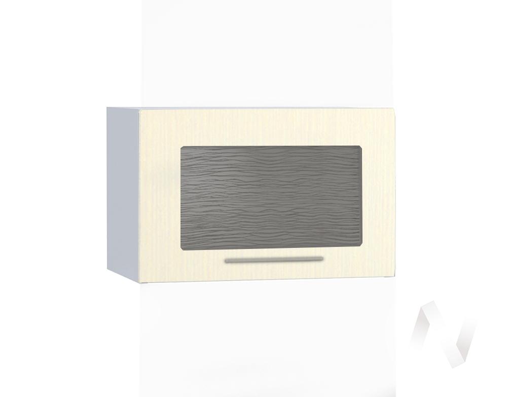 """Кухня """"Люкс"""": Шкаф верхний горизонтальный со стеклом 500, ШВГС 500 (Шелк жемчуг/корпус белый)"""