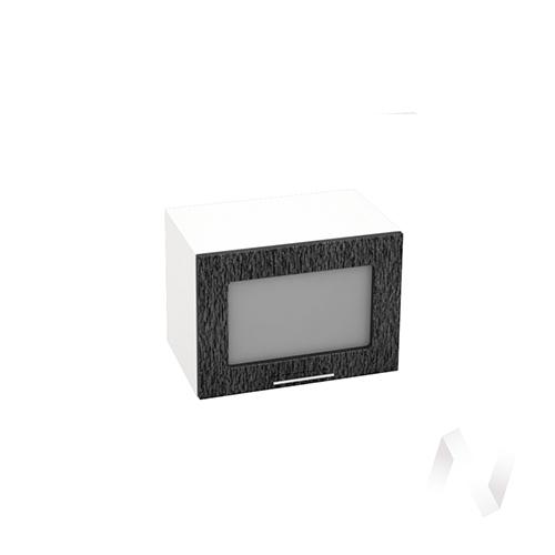 """Кухня """"Валерия-М"""": Шкаф верхний горизонтальный со стеклом 500, ШВГС 500 (дождь черный/корпус белый)"""