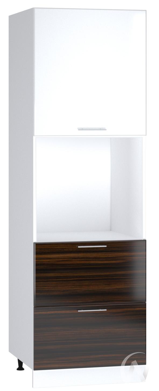 "Кухня ""Норден"": Шкаф пенал с 2-мя ящиками 600, ШП2Я 600 (эбен/белый глянец/корпус белый)"