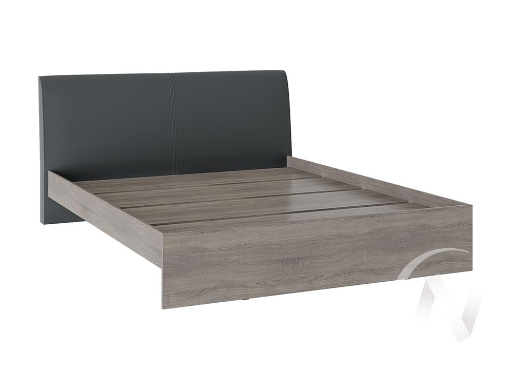 Кровать Доминика 1,4 основание ЛДСП (дуб сонома трюфель/кожзам серый)  в Томске — интернет магазин МИРА-мебель