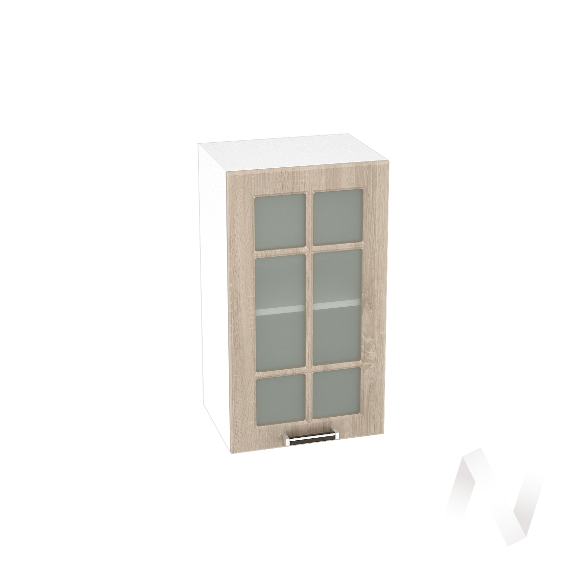 "Кухня ""Прага"": Шкаф верхний со стеклом 400, ШВС 400 (дуб сонома/корпус белый)"