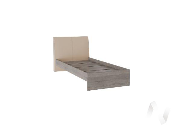 Кровать Доминика 0,9 основание ЛДСП (дуб сонома трюфель/кожзам бежевый)