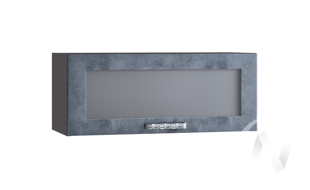 """Кухня """"Лофт"""": Шкаф верхний горизонтальный со стеклом 800, ШВГС 800 (Бетон графит/корпус венге)"""