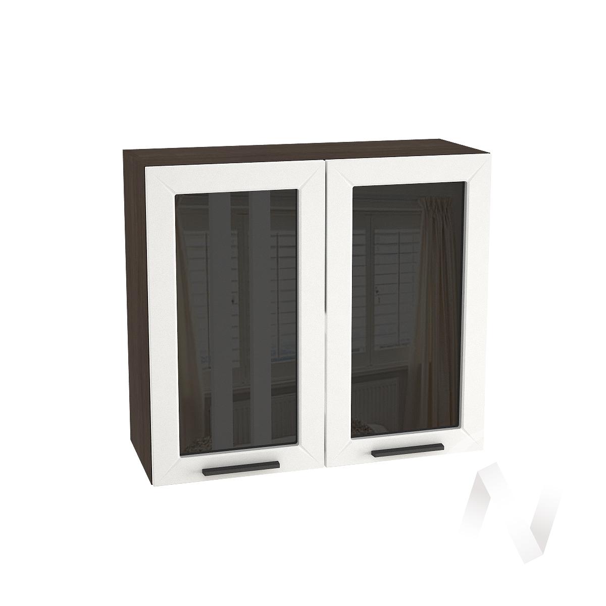 """Кухня """"Глетчер"""": Шкаф верхний со стеклом 800, ШВС 800 (Айленд Силк/корпус венге)"""