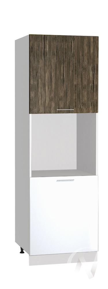 "(1)Кухня ""Норден"": Шкаф пенал 600, ШП 600 (старое дерево/белый глянец/корпус белый)"