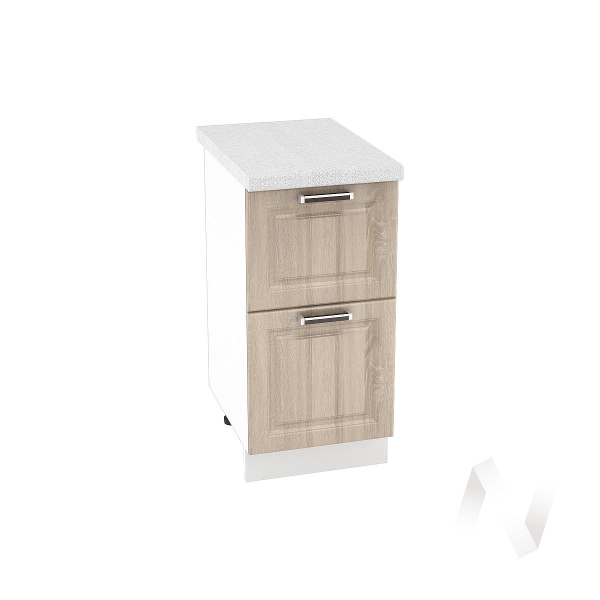 "Кухня ""Прага"": Шкаф нижний с 2-мя ящиками 400, ШН2Я 400 (дуб сонома/корпус белый)"