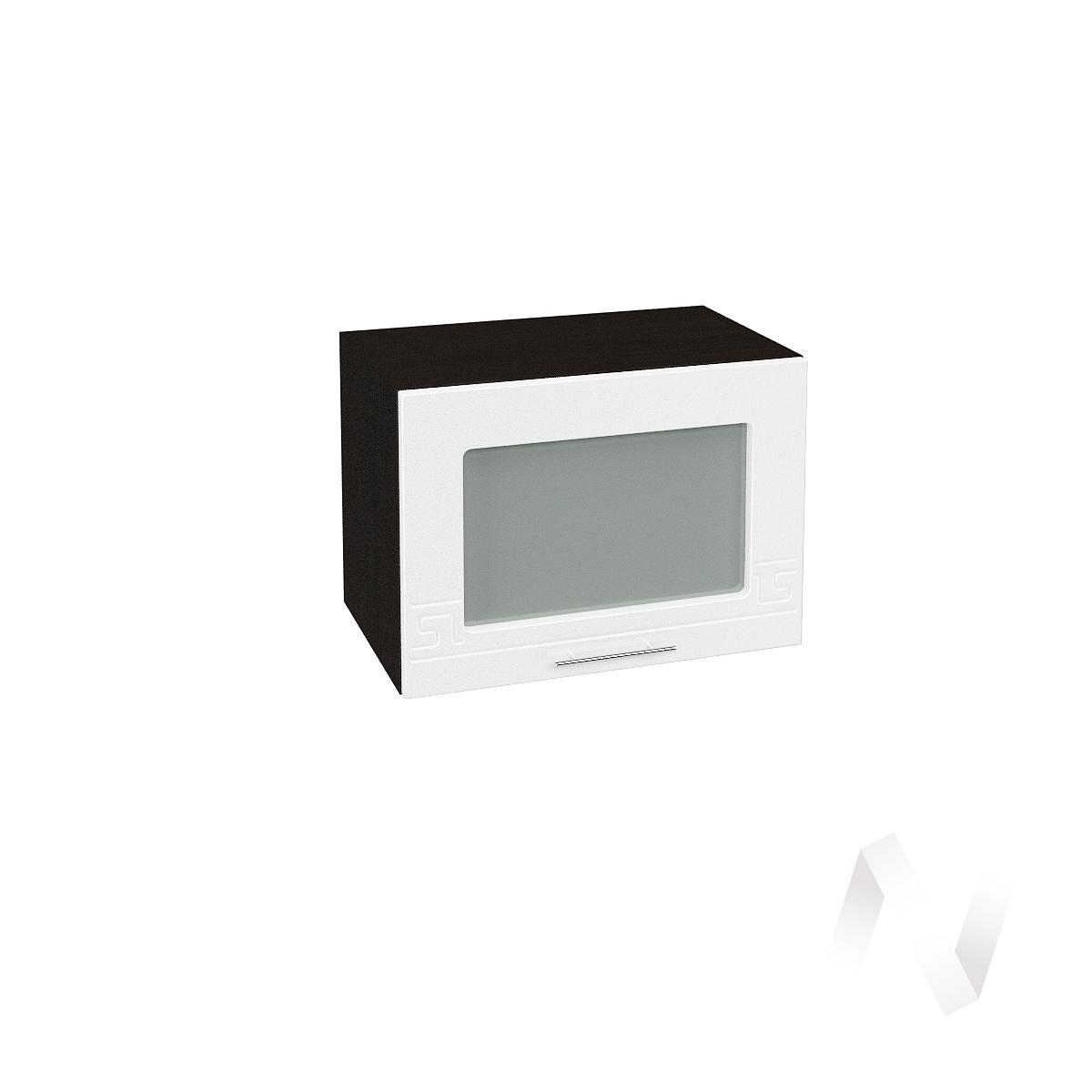 """Кухня """"Греция"""": Шкаф верхний горизонтальный со стеклом 500, ШВГС 500 (белый металлик/корпус венге)"""