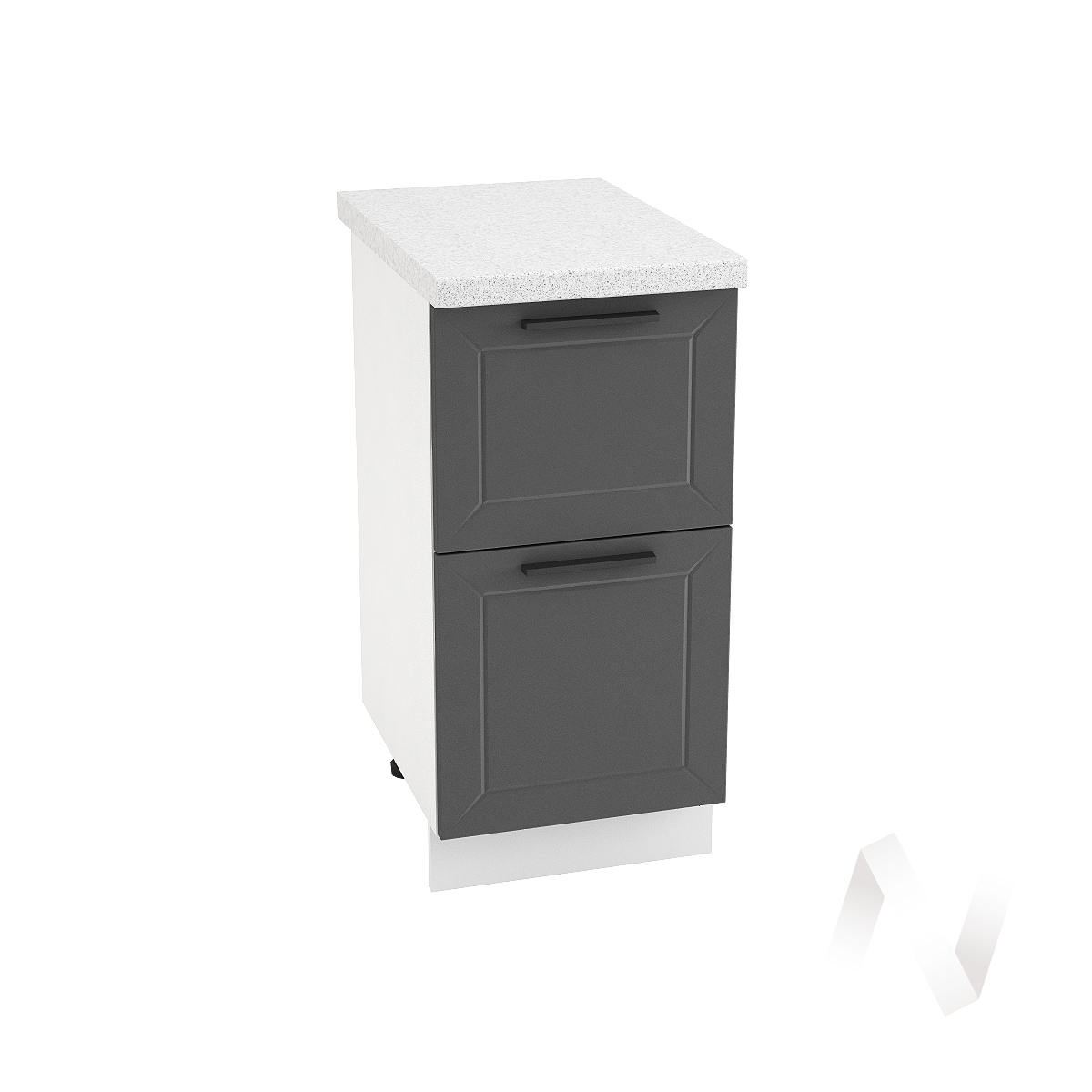 "Кухня ""Глетчер"": Шкаф нижний с 2-мя ящиками 400, ШН2Я 400 (Маренго силк/корпус белый)"
