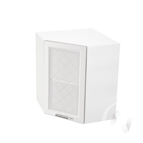 """Кухня """"Вена"""": Шкаф верхний угловой со стеклом 590, ШВУС 590 (корпус белый)"""