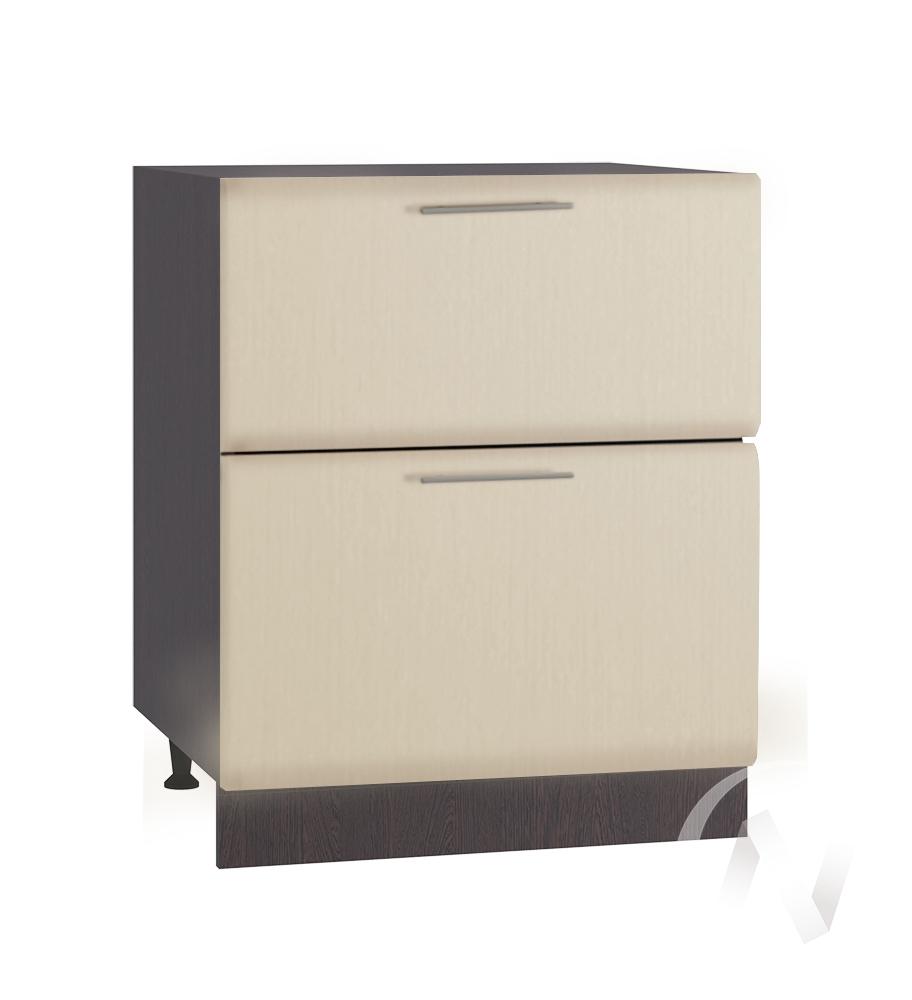 """Кухня """"Люкс"""": Шкаф нижний с 2-мя ящиками 600, ШН2Я 600 (Шелк жемчуг/корпус венге)"""