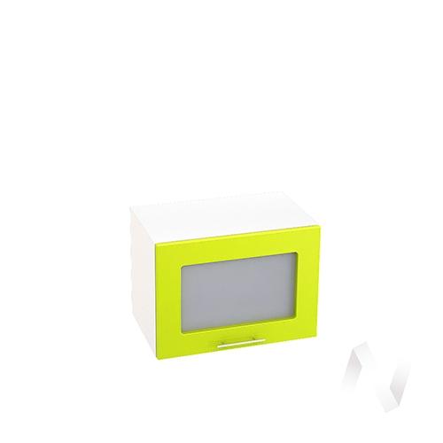 """Кухня """"Валерия-М"""": Шкаф верхний горизонтальный со стеклом 500, ШВГС 500 (лайм глянец/корпус белый)"""