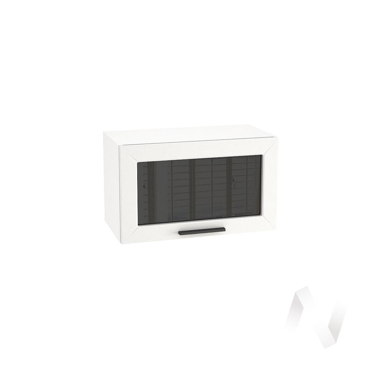 """Кухня """"Глетчер"""": Шкаф верхний горизонтальный со стеклом 600, ШВГС 600 (Айленд силк/корпус белый)"""