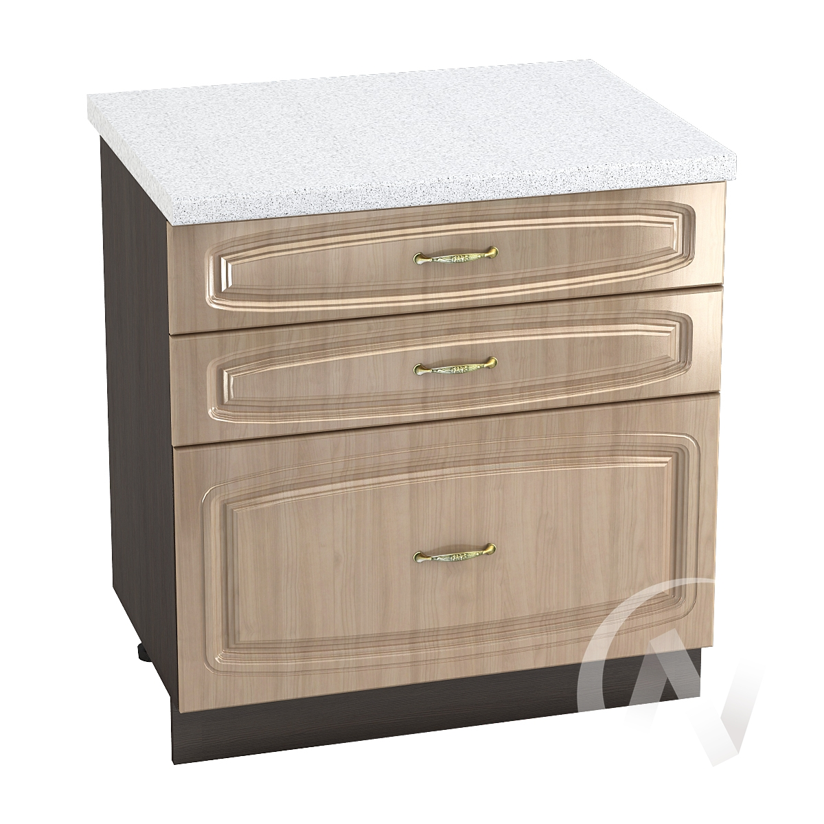 """Кухня """"Сити"""": Шкаф нижний с 3-мя ящиками 800, ШН3Я 800 (корпус венге)"""