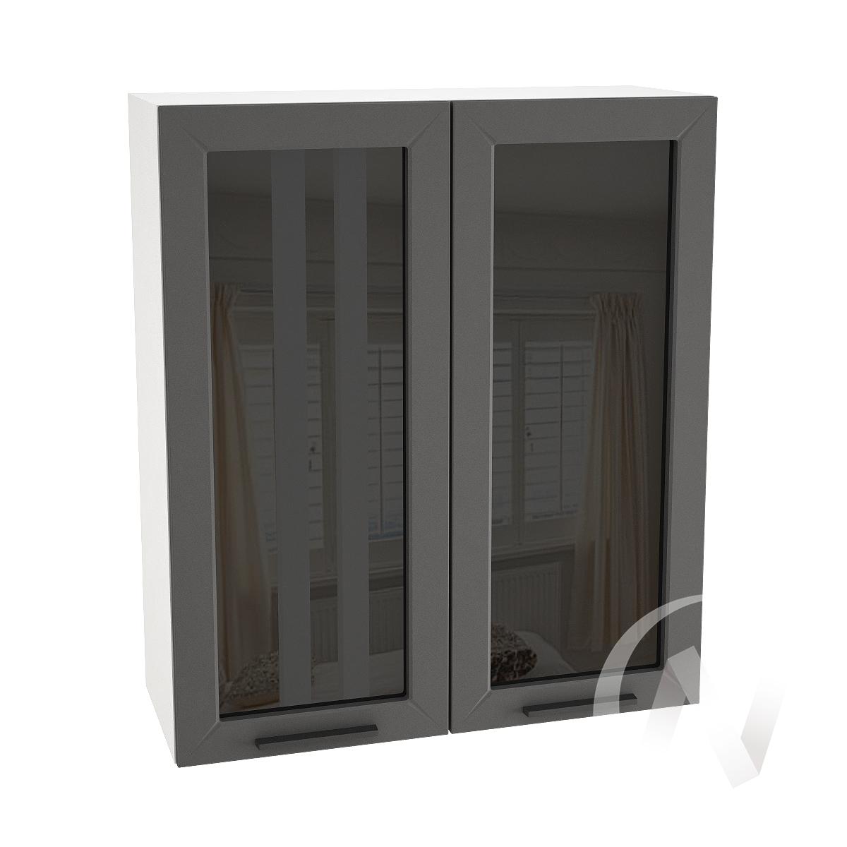 "Кухня ""Глетчер"": Шкаф верхний со стеклом 809, ШВС 809 (Маренго силк/корпус белый)"