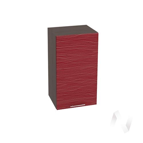 """Кухня """"Валерия-М"""": Шкаф верхний 400, ШВ 400 (Страйп красный/корпус венге)"""