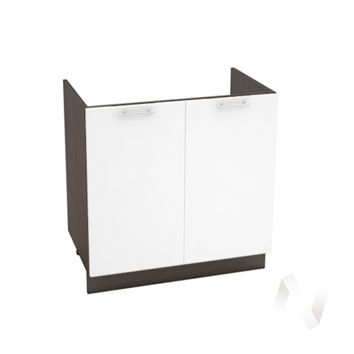"Кухня ""Валерия-М"": Шкаф нижний под мойку 800, ШНМ 800 (белый глянец/корпус венге)"