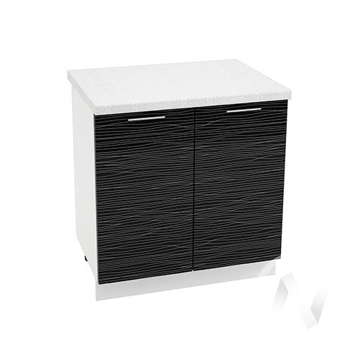 "Кухня ""Валерия-М"": Шкаф нижний 800, ШН 800 (Страйп черный/корпус белый)"